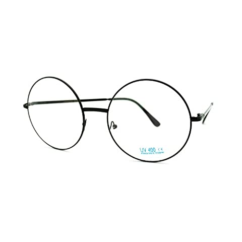 Super Oversized Round Circle Frame Clear Lens Glasses Black - Large Circle