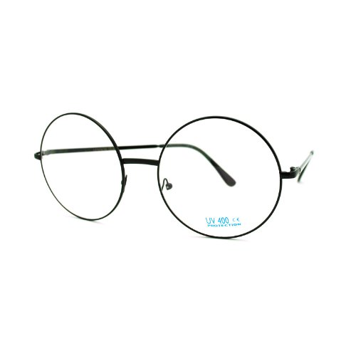 Super Oversized Round Circle Frame Clear Lens Glasses Black