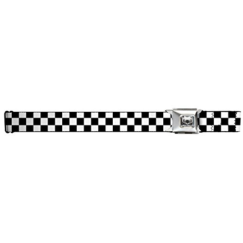 Black Checkered Belt (Buckle-Down Dodge Viper Seatbelt Belt - More Colors (Black and White)