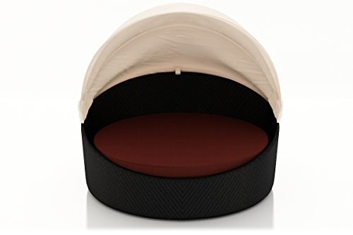 Harmonia Living Wink Wicker Curved Outdoor Daybed with Red Sunbrella Cushion (SKU HL-WINK-CB-DB-HN) (Daybed Prices Cheap)