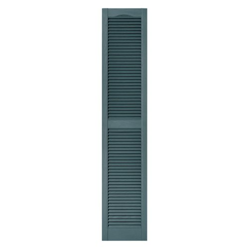 12 in. x 72 in. Louvered Vinyl Exterior Shutters Pair in #004 Wedgewood Blue by Builders Edge