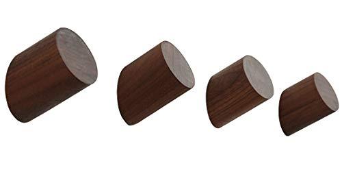 (Stardice Natural Wood Coat Hooks Wall Mounted Vintage Single Organizer Hanger Handmade Craft Hat Rack (Walnut Pack of 4) )