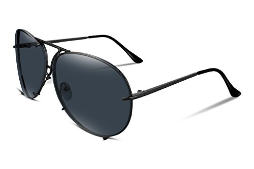 FEISEDY Stylish Aviator Oversized Sunglasses For Women Men Metal Frame UV400 Lens - Black Oversized Aviators
