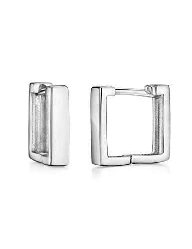 Sterling Silver Huggy Earrings Hoop Square Minimalist Dainty Essential Earring for Girls Women ()