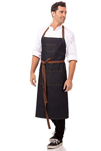Chef Works Unisex Memphis Chefs Bib Apron, Indigo Blue, One Size 3