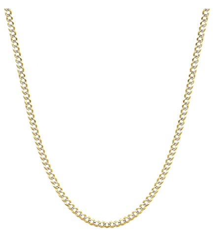10K Yellow Gold 3.5mm Two Tone Cuban Curb Diamond Cut Pave Chain Necklace -20 by PORI JEWELERS