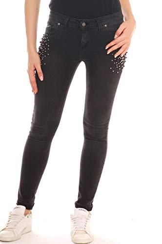 Perle di In Key Strass Jeans Denim Nero Skinny Donna Con Cotone E qxSvZd