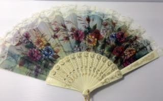 Chinese Red Peonies flower pattern Lace trim Handheld Folding Fan for girl and women