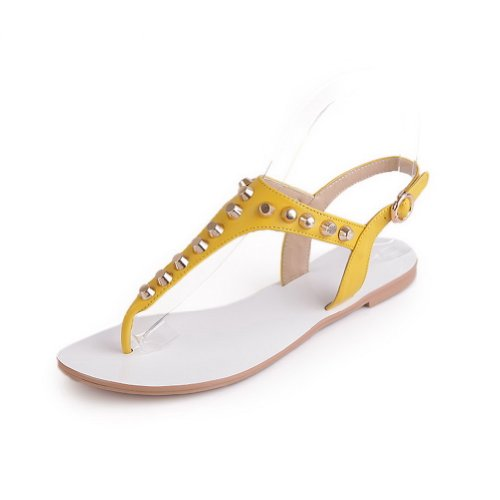 Leather WeenFashion Solid Womens M Rivet Toe US Embossed Leather Open B 7 Sandals Cow with Yellow 4FqqfUI