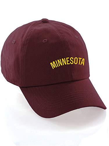 Daxton USA Cities Baseball Dad Hat Cap Cotton Unstructure Low Profile Strapback - Minnesota Burgundy Gold ()