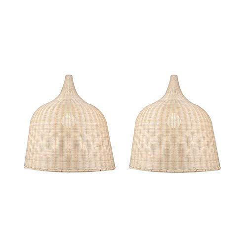 (KIRIN 2 Pack Bamboo Rattan Hanging Lamp E26 Pendant Light Nordic Chandelier for Kitchen Bedroom Living Room Restaurant Hotel Fixture (17.71