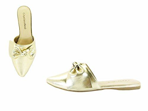 Paprika Damen Goldton Horsebit Hardware Rückenfrei Slip On Loafer Goldmetallisch