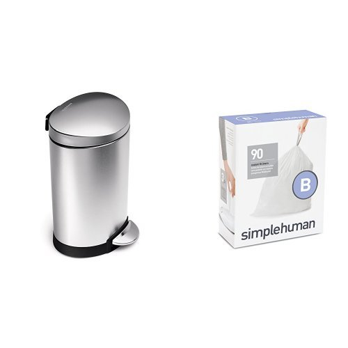 (simplehuman 6 litre semi-round step can fingerprint-proof brushed stainless steel + code B 90 pack liners)