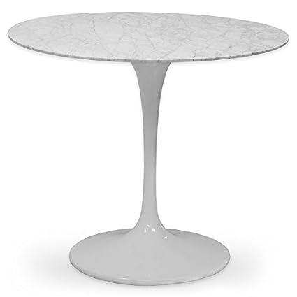 Amazoncom Ergo Furnishings MidCentury Tulip Natural Marble Dining - Mid century marble dining table