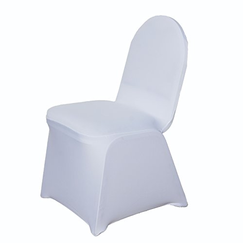 BalsaCircle 10 pcs White Spandex Stretchable Banquet Chair Covers for Party Wedding Linens Decorations Dinning Ceremony Reception Supplies