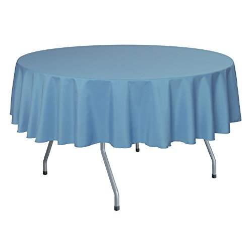 Ultimate Textile 60-Inch Round Polyester Linen Tablecloth Sky Light Baby Blue