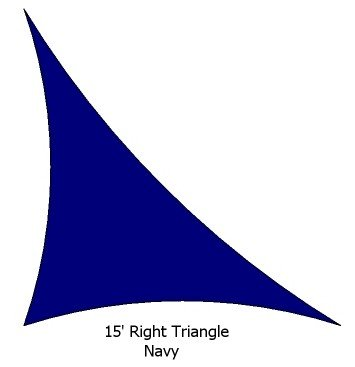 15' Right Triangle Navy Blue Color Premium Quality Heavy Duty Sun Shade Sail Made in USA by Custom Shade Sails