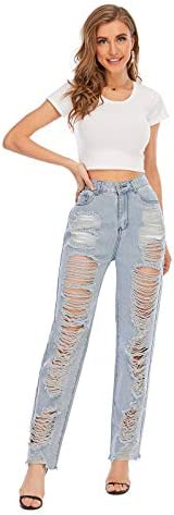31s4hc%2B5PUL. AC Nother Women's Casual Jeans Torn Distressed Jeans    Material: 80%cotton and 20%polyester. High quality stretchy material can increase the convenience of activity and make it be durable and comfortable to wear all day.Features:Denim fabric for washed effect, it is both stretchy and durable, skinny style jeans with asymmetric distressed details at knee.Design:Slim through hip and thigh shows a perfect body curve. Zipper fly and utility pockets are practically for daily life.Occasion: home casual pants; shopping; holiday; street fashion; daily wear.Contact us:Please contact us,if you are not completely satisfied with the item.We will try our best to solve your problem as early as we can.