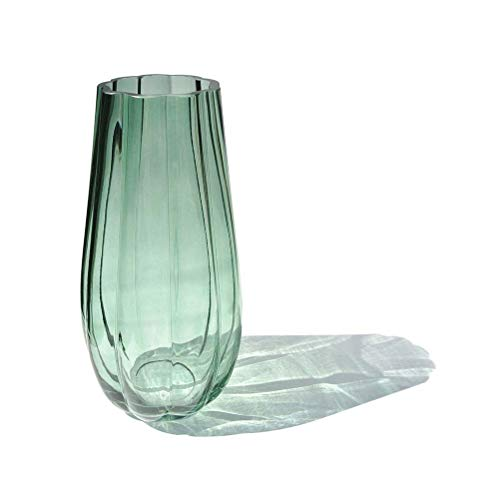 CN CRAFTS Hand-Made Blown Ribbed Pumpkin Shape Art Bud Glass Vase, Modern Simple Style Flower Arrangement Container for Home and Office Tabletop Decor. (Green Ceramic Vases)