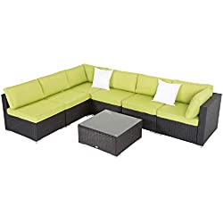 Peach Tree 7 PCs Outdoor Patio PE Rattan Wicker Sofa Sectional Furniture Set with Green Cushion, 2 Pillows and Tea Table