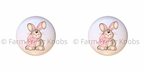 SET OF 2 KNOBS - Floppy Bunny Rabbit - Rabbits - DECORATIVE Glossy CERAMIC Cupboard Cabinet PULLS Dresser Drawer KNOBS
