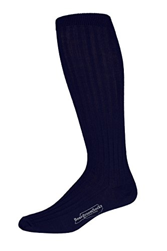 Boardroom Socks Men's Over the Calf Merino Wool Ribbed Dress Socks Dark Navy