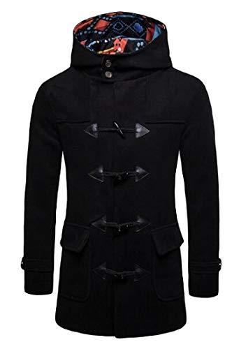 Blend Wool Toggle Hooded (Blyent Mens Wool Blend Toggle Casual Trenchcoat Hooded Overcoat Pea Coat Black Medium)