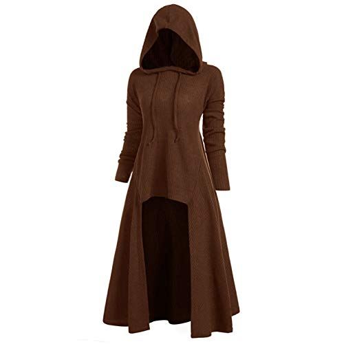 (TIFENNY Womens Fashion Hooded Plus Size Vintage Cloak Coat High Low Sweater Long Sleeve Tops Dress Outcoat Coffee)