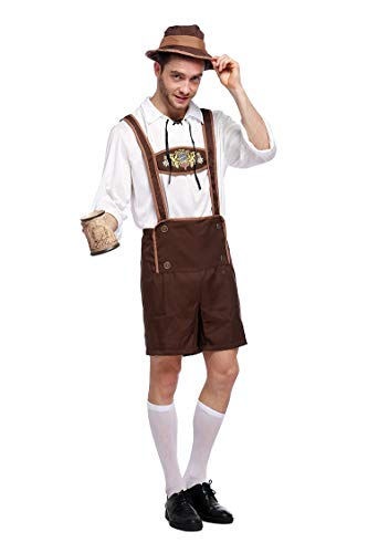 Haorugut Men's Oktoberfest Costume German Bavarian Guy Adult Costume Lederhosen Outfits Dress Up for Beer Festival XL Brown