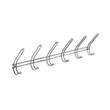 InterDesign Classico Wall Mount Entryway Storage Rack for Jackets, Coats, Hats, Scarves - 6 Hooks, Chrome