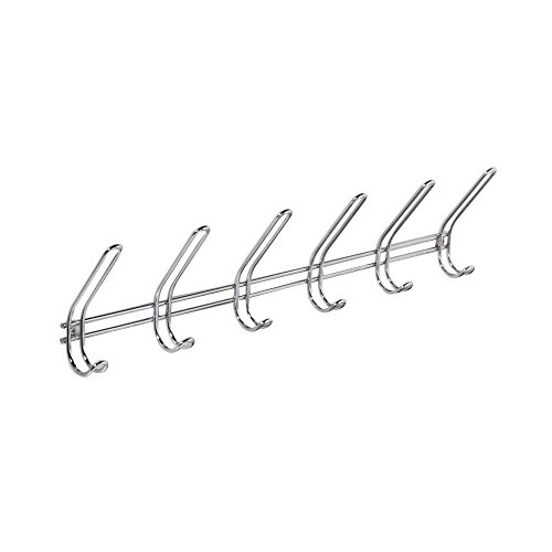 InterDesign Classico Wall Mount Storage Rack – 6 Hallway Hanging Hooks for Jackets, Coats, Hats and Scarves, Chrome