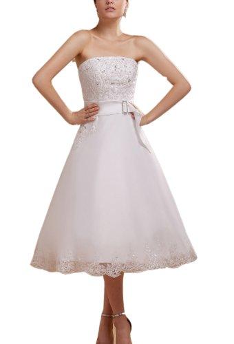 Albizia Women's Delicate A-line Knee-length Gerogia's Lace Wedding Dress by ALBIZIA