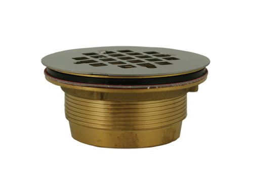 PlumBest D40140 2-Inch Brass No Caulk Shower Drain with Stainless Steel Strainer ()