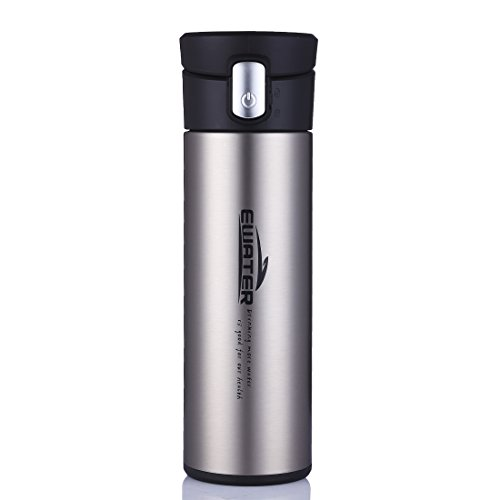 Mug Stainless Liner - ONEISALL 320 Milliliter Glass Liner Cup,Insulated Coffee Mug,Business Male Stainless Steel Vacuum Flask,Leak-proof Travel Thermal Flask,Press Drinking Bottle With Tea Strainer(Silver)