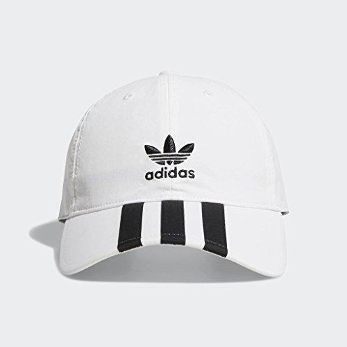 adidas Men's Originals Relaxed Applique Strapback Cap, white/black, One Size
