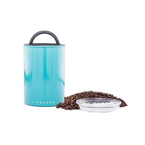 Airscape Coffee and Food Storage Canister - Patented Airtight Lid Preserve Food Freshness with Two Way CO2 Valve, Stainless Steel Food Container, Turquoise, Medium 7-Inch Can
