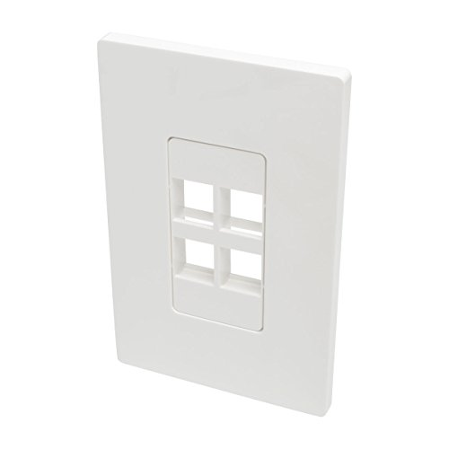 Tripp Lite Single-Gang 4-Port Universal Keystone Wall Plate, Cat5/6/6a, USB, HDMI, DisplayPort, RCA, White (N080-104) (Wall Plate Red Cat5e)