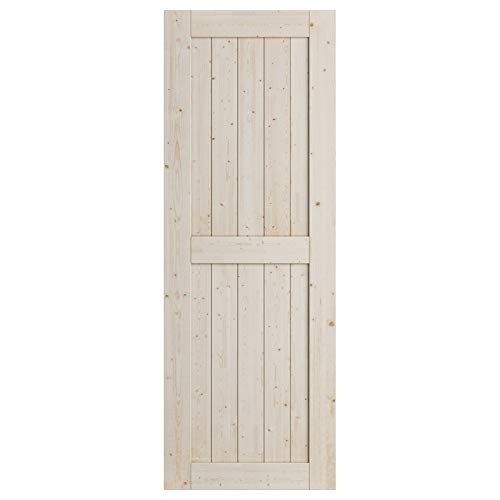 SmartStandard 30in x 84in Sliding Barn Wood Door, Pre-Drilled Ready to Assemble, DIY Unfinished Solid Nature Wood…