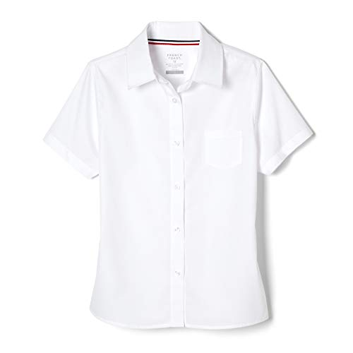 French Toast Big Girls' Short Sleeve Pointed Collar with Pocket Shirt, White, 8 ()