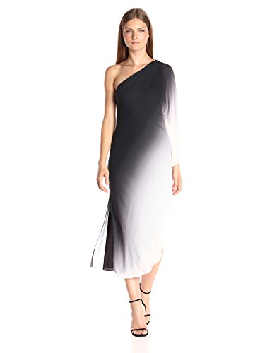 HALSTON HERITAGE Women's One Sleeve Flowy Ombre Printed Dress