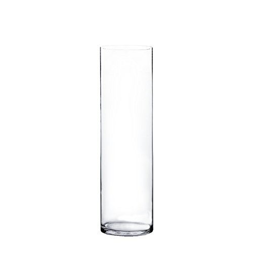 CYS EXCEL Pack of 1-Glass Cylinder Vase, Floating Candle Holders, Flower vase, Decorative Centerpiece for Home or Wedding, Thickness 1/4th ()