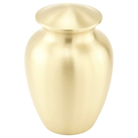 Urn Child - Silverlight Urns Simple Gold Cremation Urn Small, Basic Brass Urn for Child or Small Adult, 7.5 Inches Tall