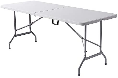 Realspace Molded Plastic Top Folding Table, 6 Wide Fold in Half, 29 H x 72 W x 30 D, Platinum