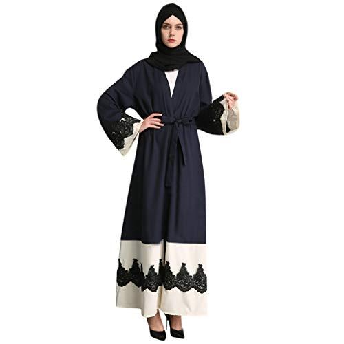 HYIRI Women's Openwork embroi Summer Soft Abaya Cardigan Muslim Dubai Robe Gown Blue -
