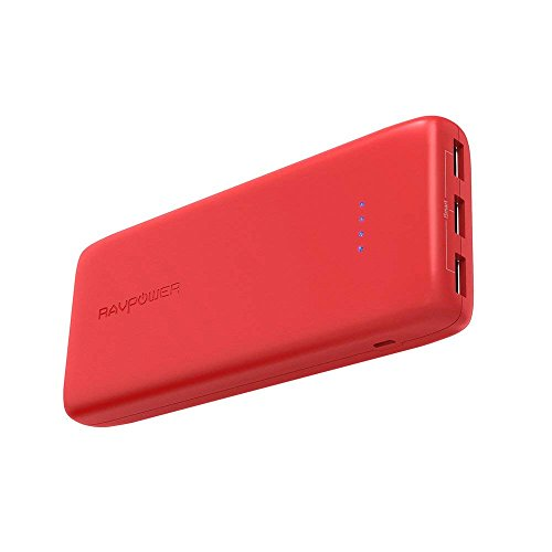 Portable Charger RAVPower 22000mAh Power Bank 22000 Battery Pack Charger 5.8A Output 3-Port (2.4A Input, Triple iSmart 2.0 USB Ports, Li-Polymer Battery) Battery Charger for Smartphone Tablet-Red