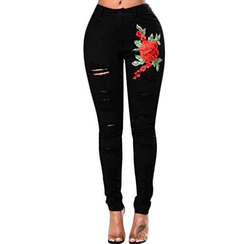 Poche Pantalon Classique serr Haute dchir en Mode Taille brod Aiweijia Skinny Denim dtresse Femmes rtro Noira1 Jeans Wq6wptFOn