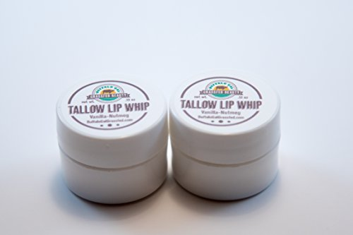 Buffalo Gal Grassfed Beauty TALLOW LIP WHIP - Vanilla Nutmeg 2 Pack (.13 oz each) - 0.13 Ounce 100% Natural
