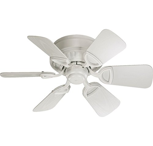 Quorum International 151306-8 Medallion 6-Blade Flush Mount Patio Ceiling Fan with Studio White ABS Blades, 30-Inch, Studio White Finish