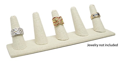 Novel Box 5 Finger Beige Linen Ring Stand Holder Jewelry Display 8X2X2