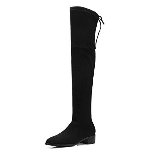 Sandalette-DEDE Botas de Moda Europeas y Americanas, Rodillas Puntiagudas, Botas de Mujer y Botas de Gamuza. black